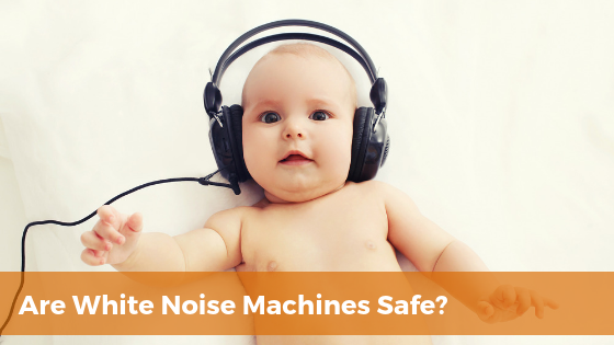 Are white noise machines safe for babies? Baby with headphones on.