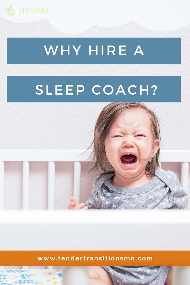 pin for why hire a sleep coach. Baby crying in crib.
