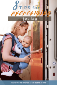 pin image for overcoming jet lag with a baby, travelling with a baby