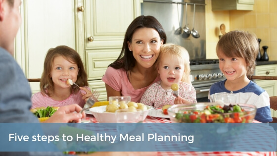 5 steps to healthy meal planning, happy family eating