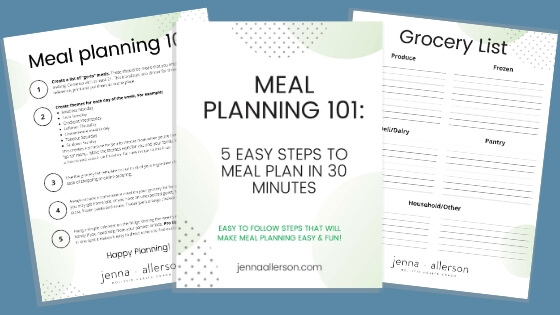 meal planning 101 and grocery list printable