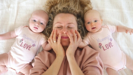exhausted mom with twins