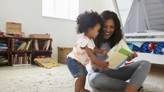 mom and child reading - Tender Transitions