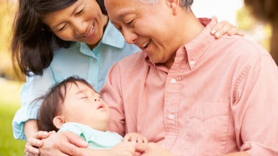 Sleep at Grandma and grandpas house Grandparents loving their grandchild